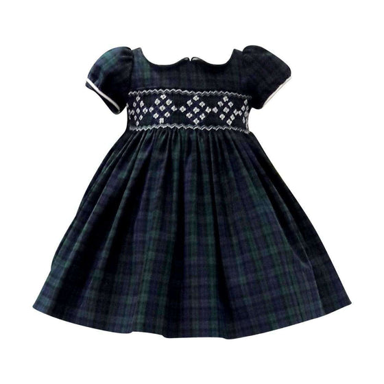 Adrian East online Smocked Dress in Black Watch Plaid with Peter Pan Collar