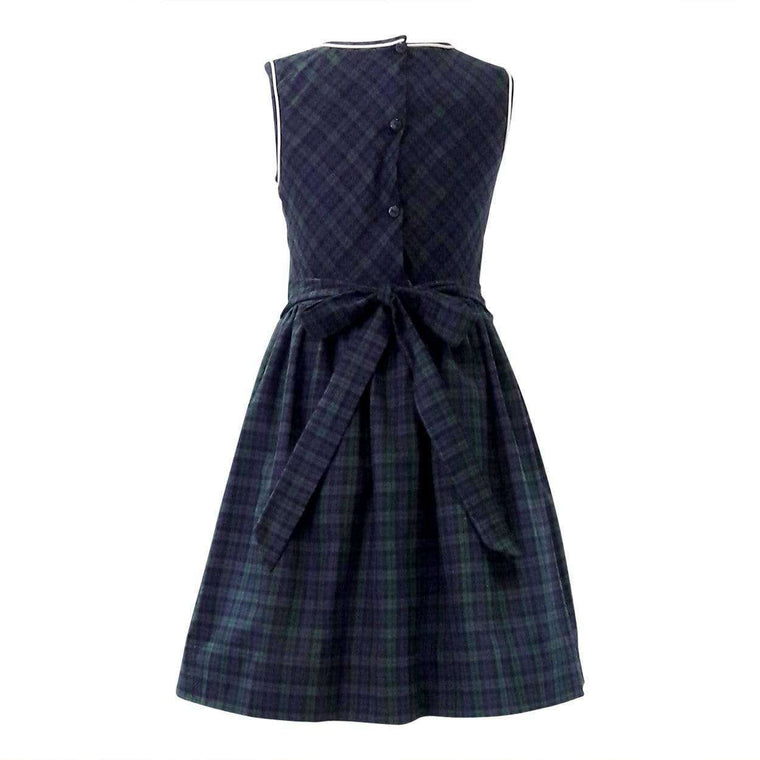 Adrian East online Smocked Dress in Black Watch Plaid