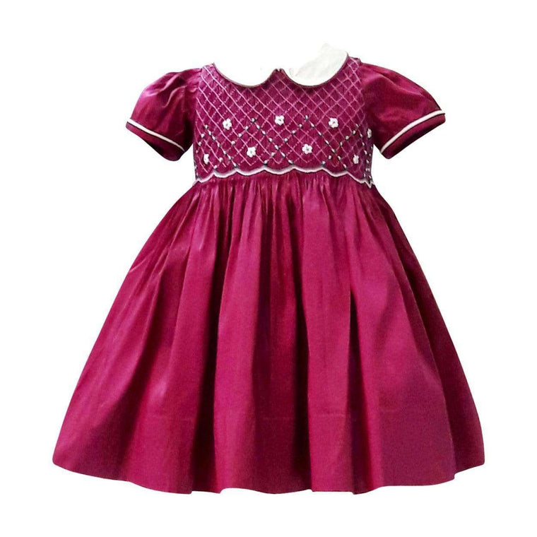Adrian East online Silk Dupioni Smocked Dress in Berry Jewel Tone