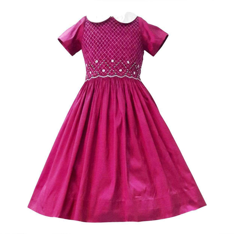 Berry Silk Dupioni Smocked Dress
