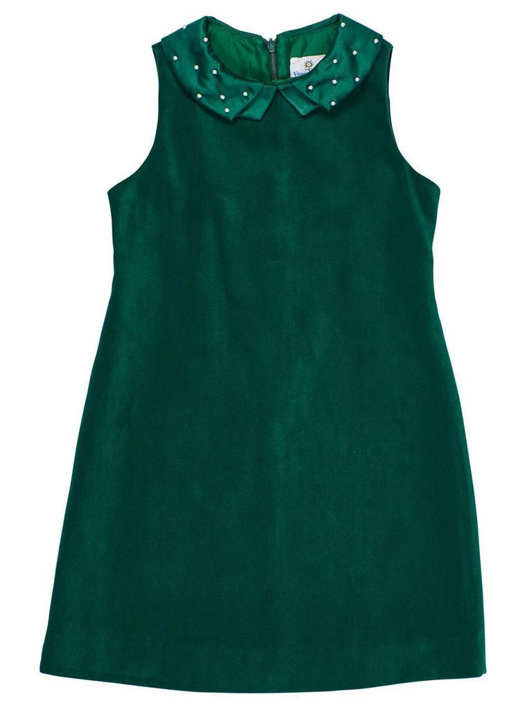 Holiday Green Velour Dress w/ Pearl Collar
