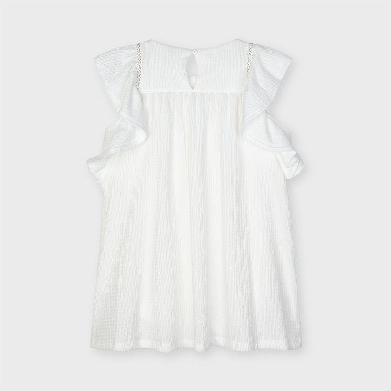 Wh Shift Dress w/ Ruffled Sleeves & Embroidering