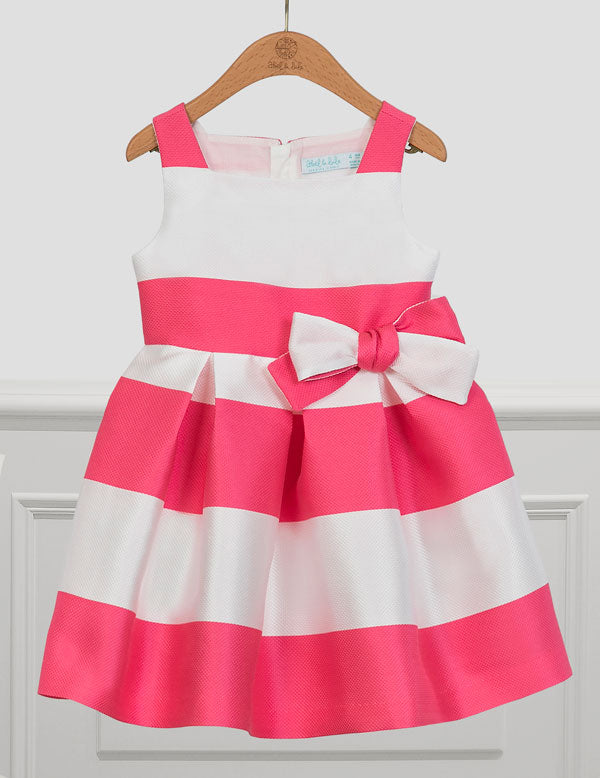 Pk & Wh Striped Easter Dress w/ Bow