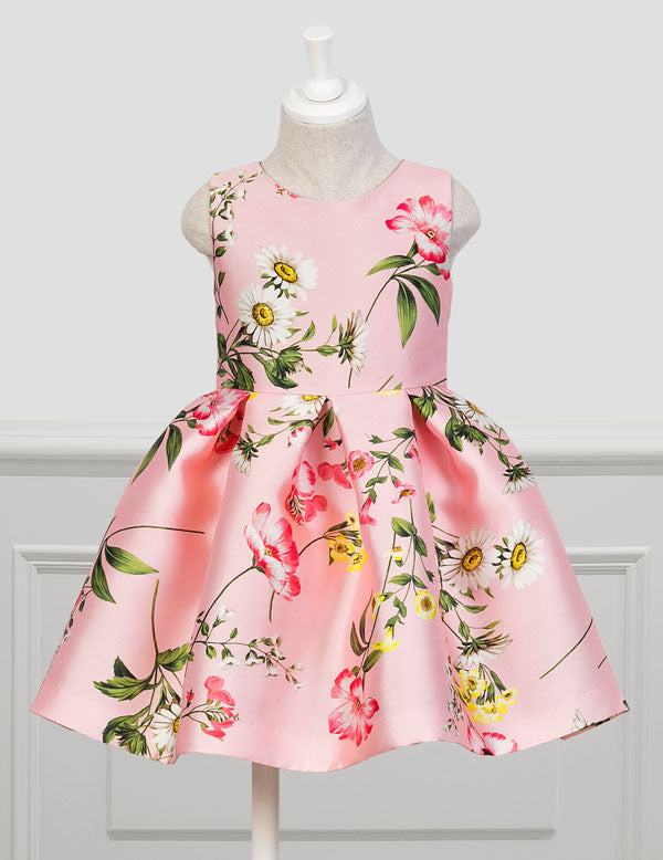 Lt Pnk Open-Backed Floral Easter Dress