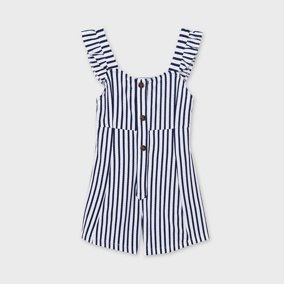 Navy & White Striped Romper