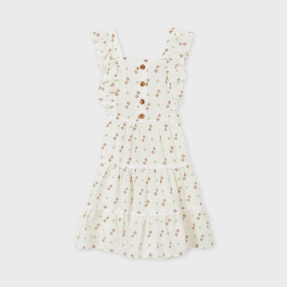 Off-White Patterned Dress w/ Buttons