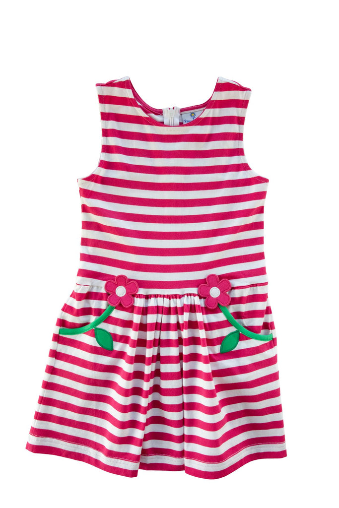 Pk & Wh Stripe Flower Dress