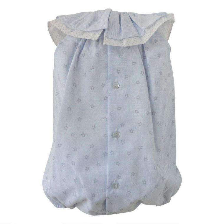 Baby Girl Blue Star Bubble With Ruffle Collar