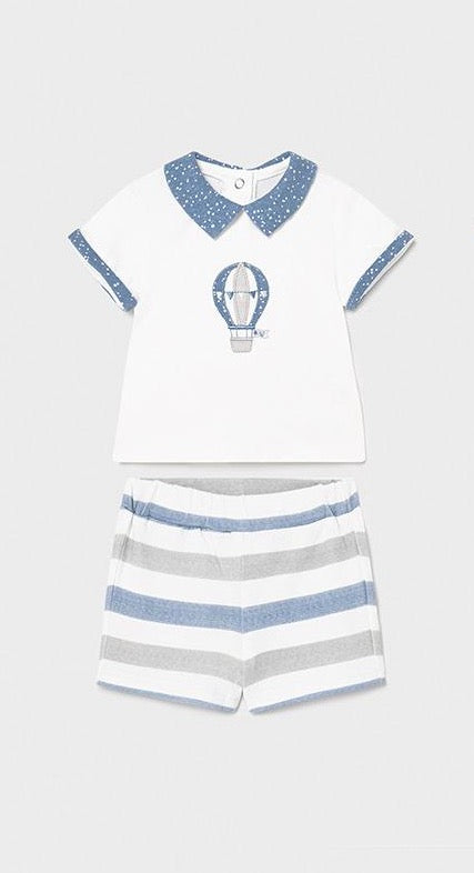 Wh Hot Air Balloon Shirt w/ Striped Shorts