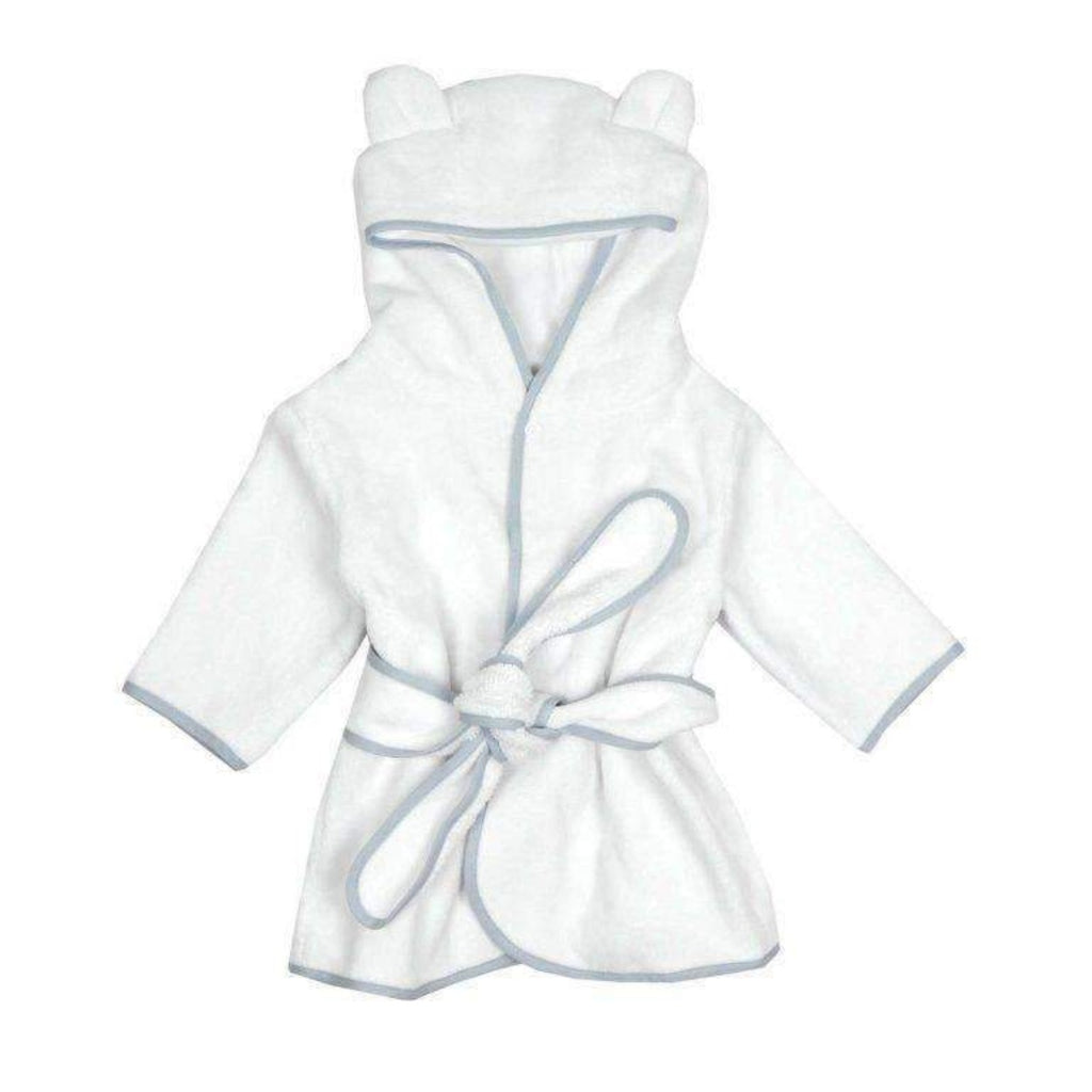 Adrian East online White terry robe with Gray Trim
