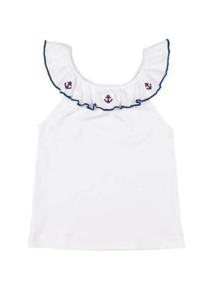 Anchor ruffle neck top and french terry shorts