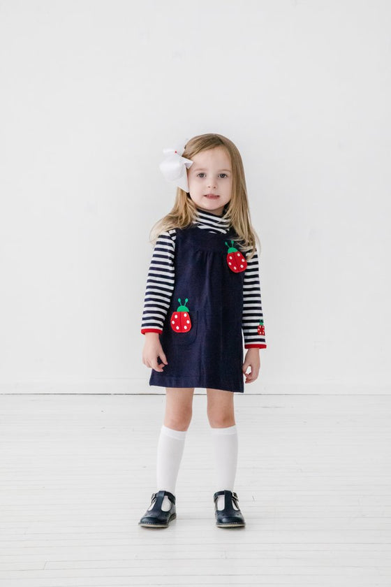 Adrian East online Navy Ladybug Dress w/ Striped Turtleneck
