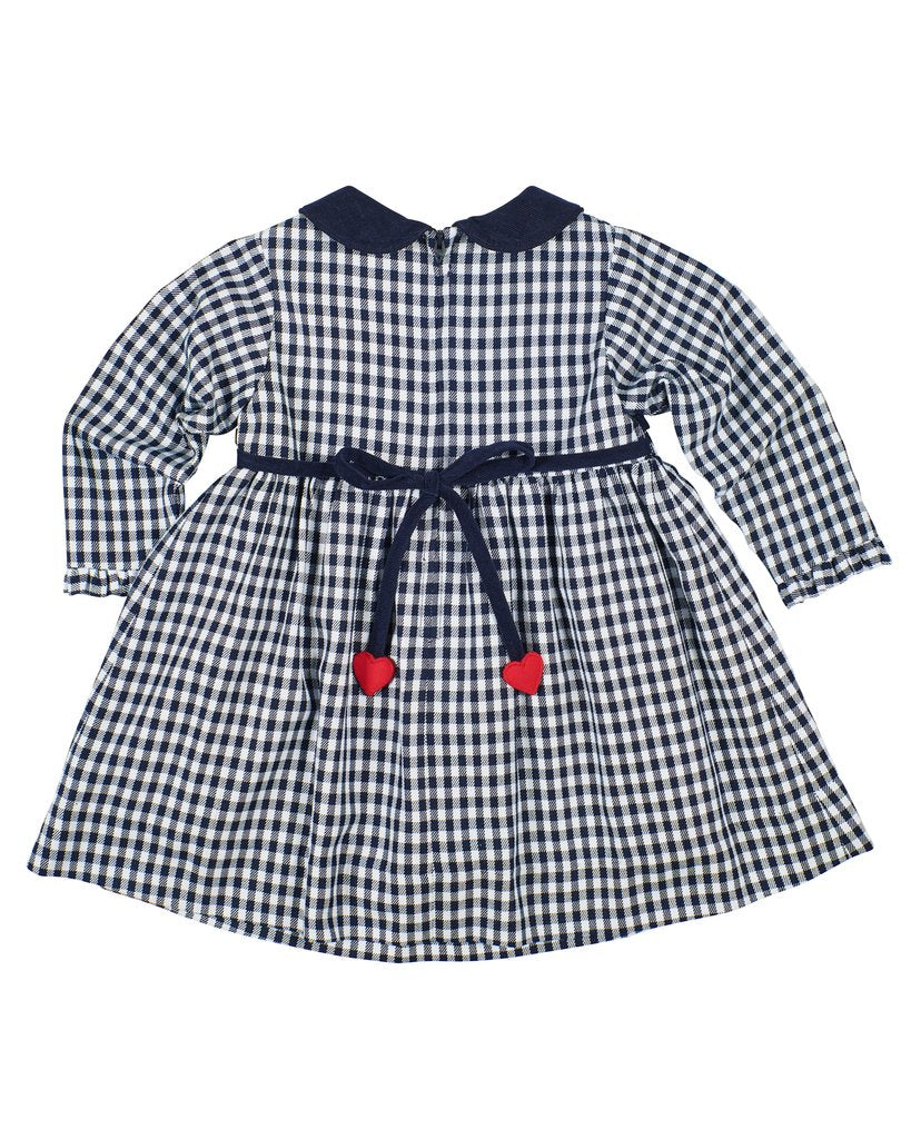Navy Gingham Dress w/ Hearts