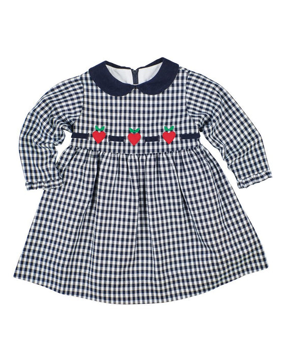 Adrian East online  Navy Gingham Dress w/ Hearts