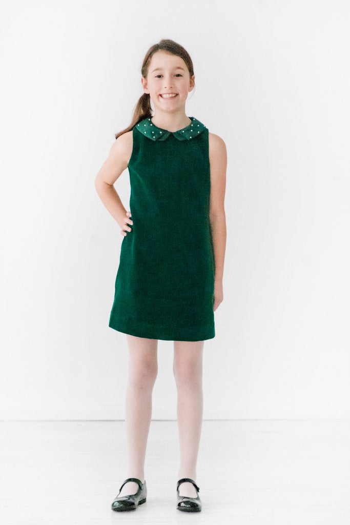 Adrian East online Holiday Green Velour Dress w/ Pearl Collar