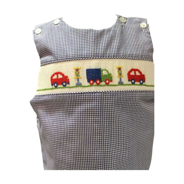 Adrian East online Royal Blue Check smocked Shortall with Cars