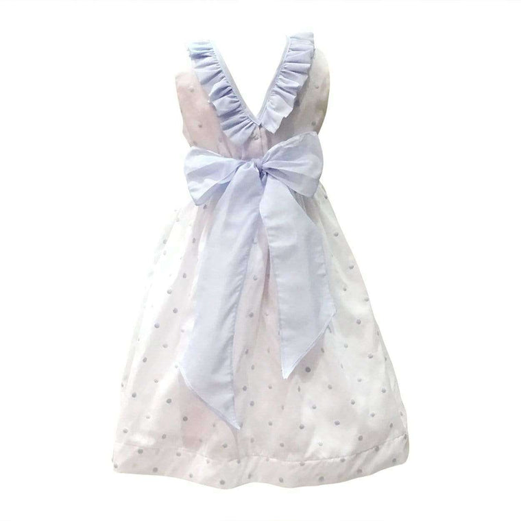 Blue & White Polka Dot Dress with Lace