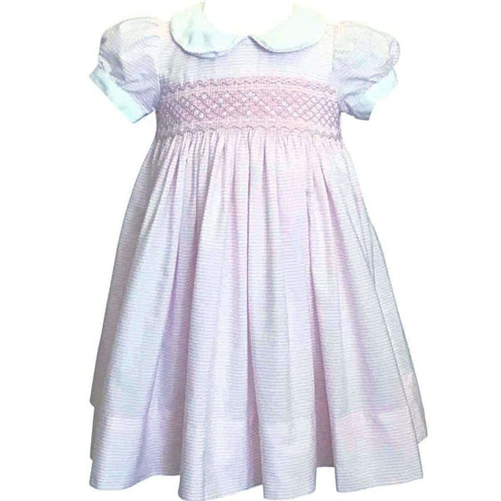 Adrian East online Smocked Pink & White Striped Dress