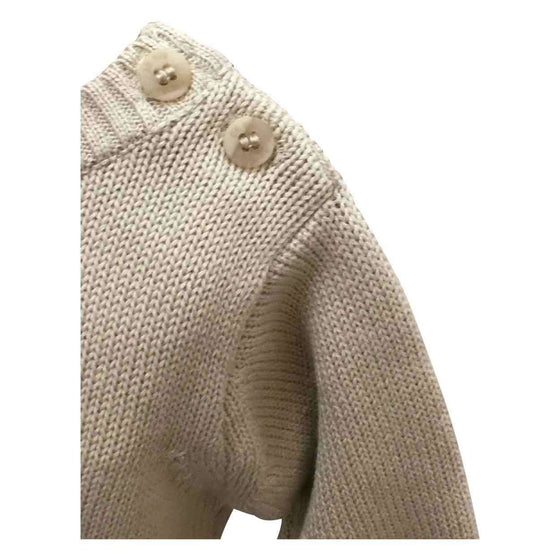 Beige Cotton Pullover Sweater