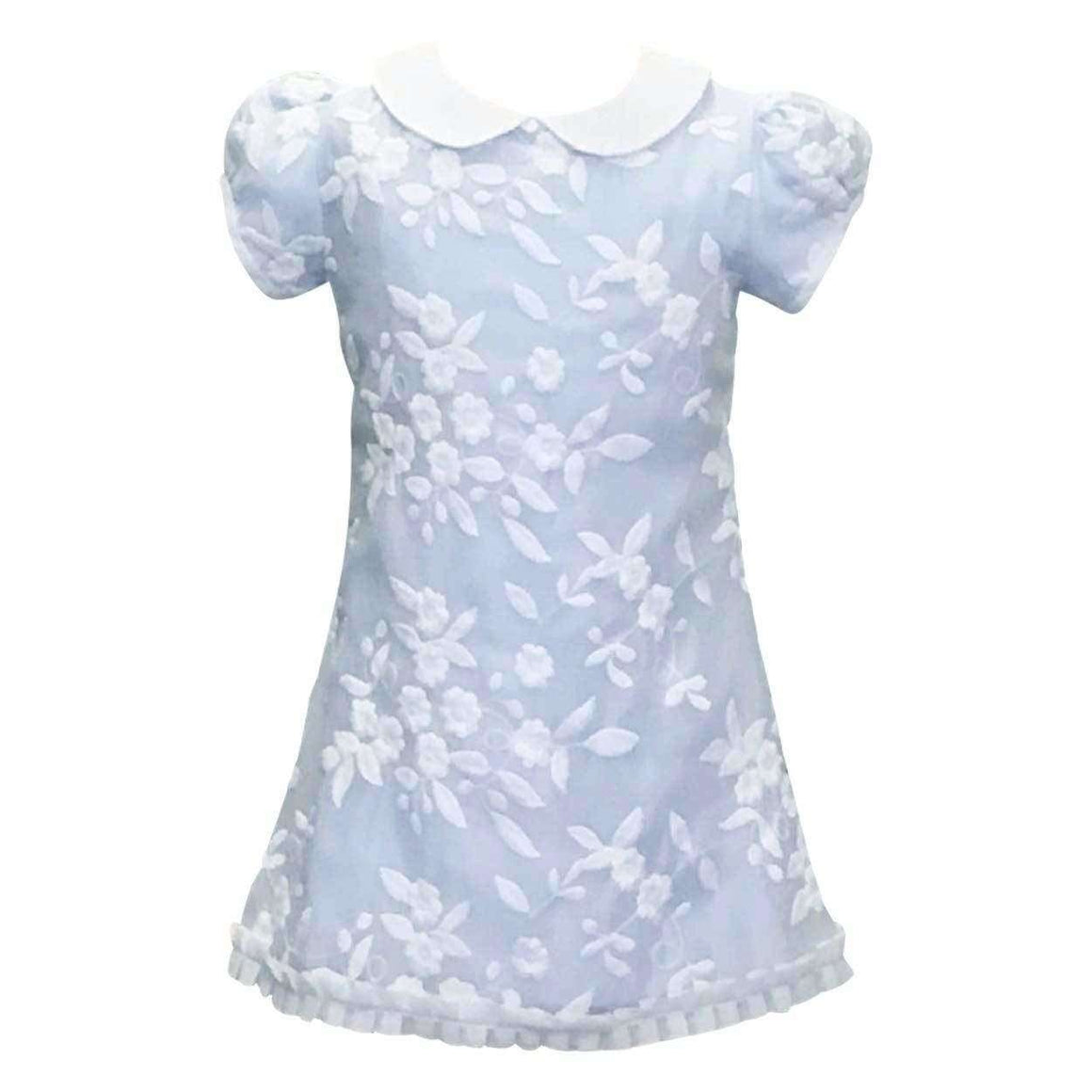Adrian East online Embroidered Organza Overlay Blue Dress