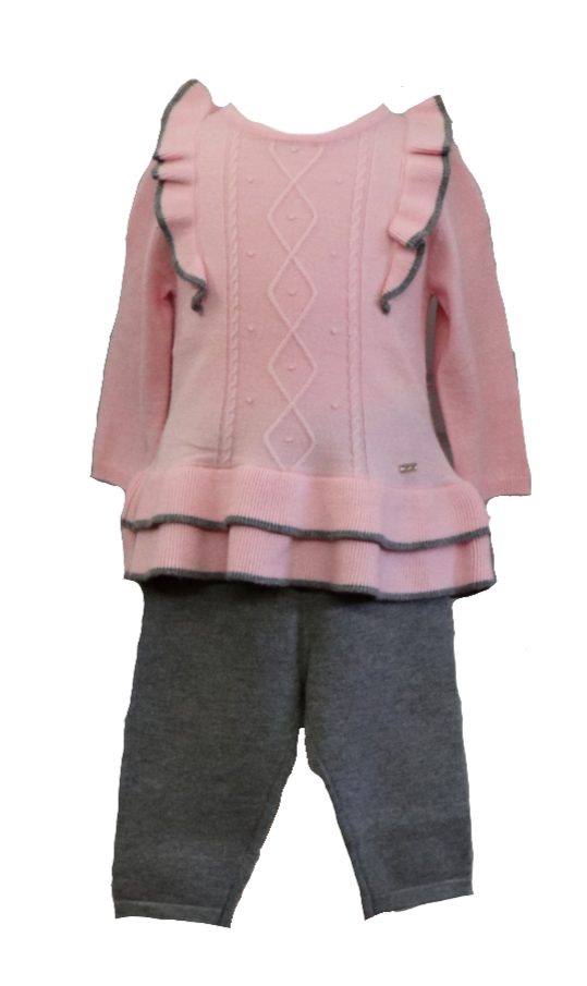 Pink and Gray Two-Piece Sweater and Legging Set