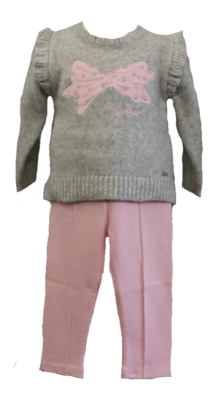 Grey Sweater with Sparkly Pink Bow Decal and Matching Pink Leggings