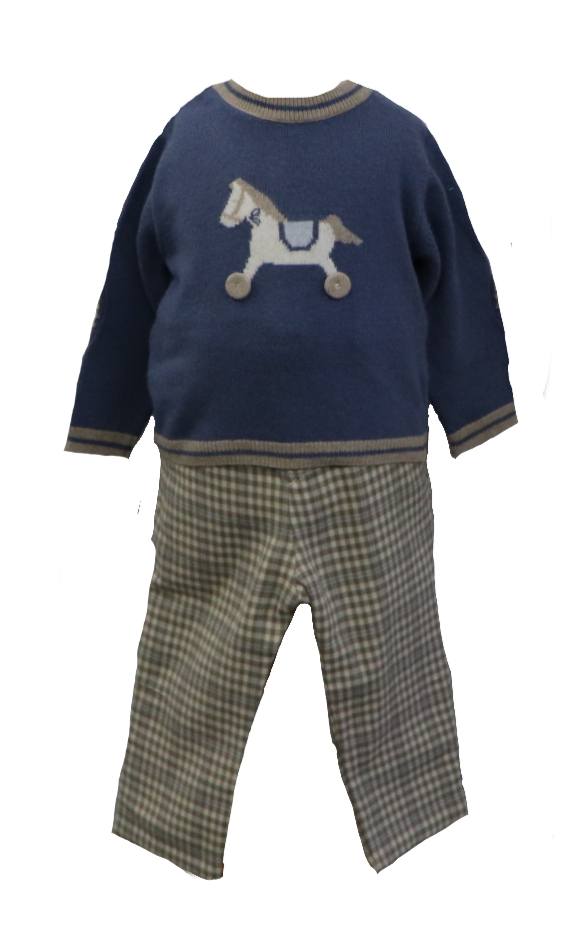 Horse Sweater with Plaid Pants