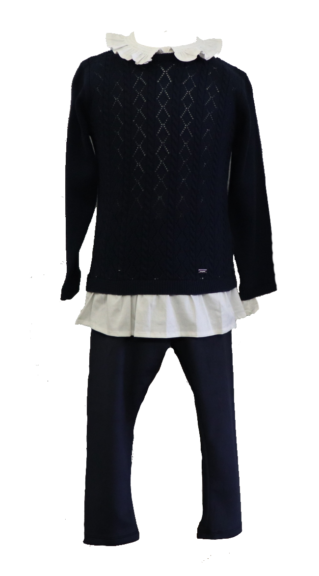 Adrian East online NAVY SWEATER WITH WHITE RUFFLE AND LEGGINGS