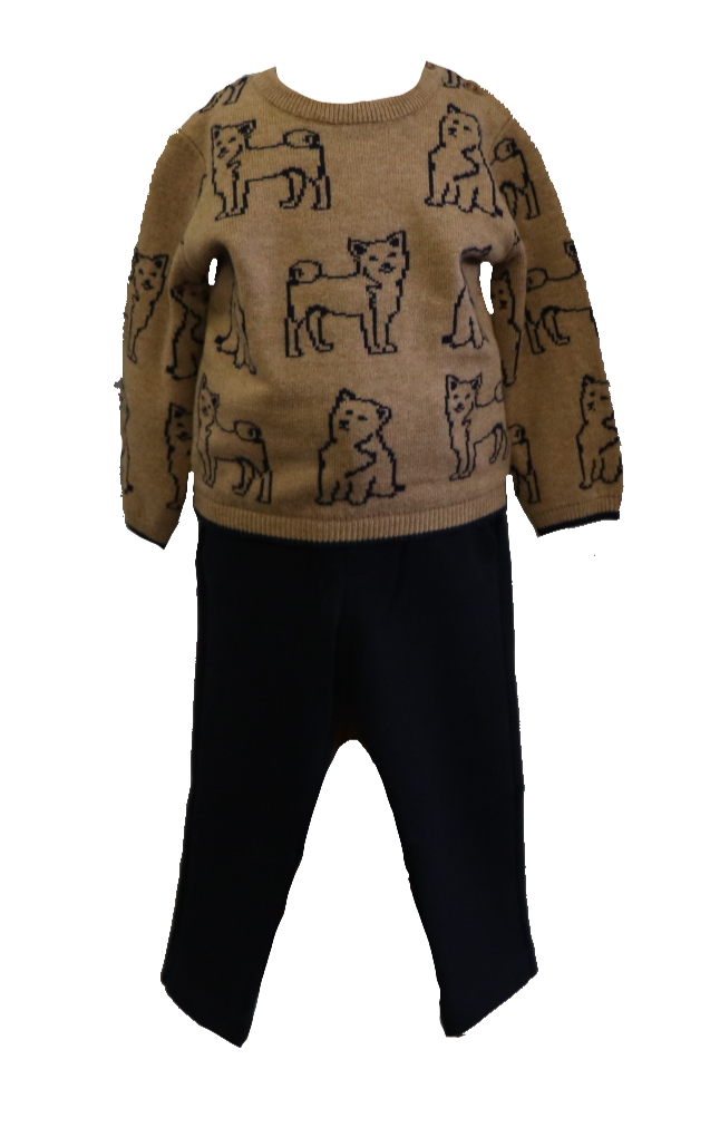 Adrian East online FOX SWEATER & SOFT KNIT NAVY DRESS PANTS