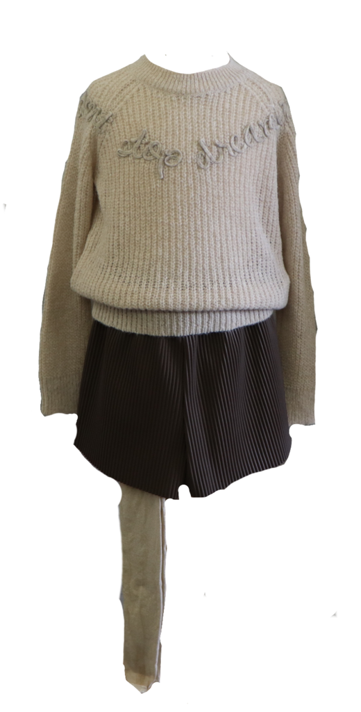Beige Bulky Sweater and Leather Ribbed Pltd. Shorts