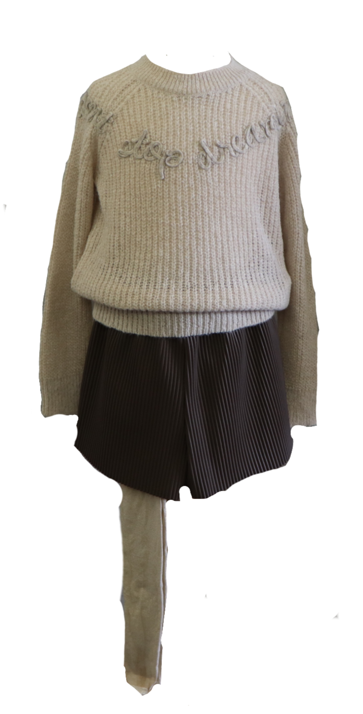 Adrian East online BEIGE BULKY SWEATER AND LEATHER RIBBED PLTD. SHORTS