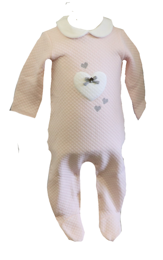 Quilted Pink Onesie w/ White Heart