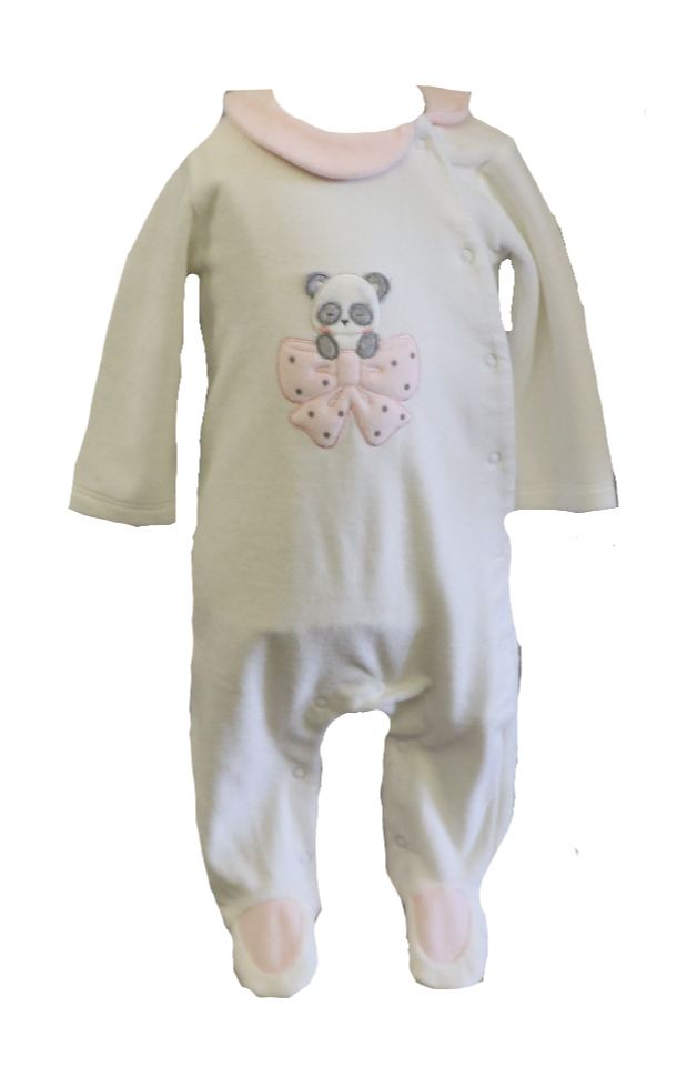 Ivory and Pink Velour Panda Footie