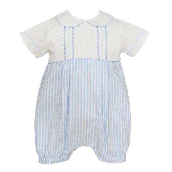 Adrian East online Seersucker Blue & White Short Set with Blue Stitching Pan Collar