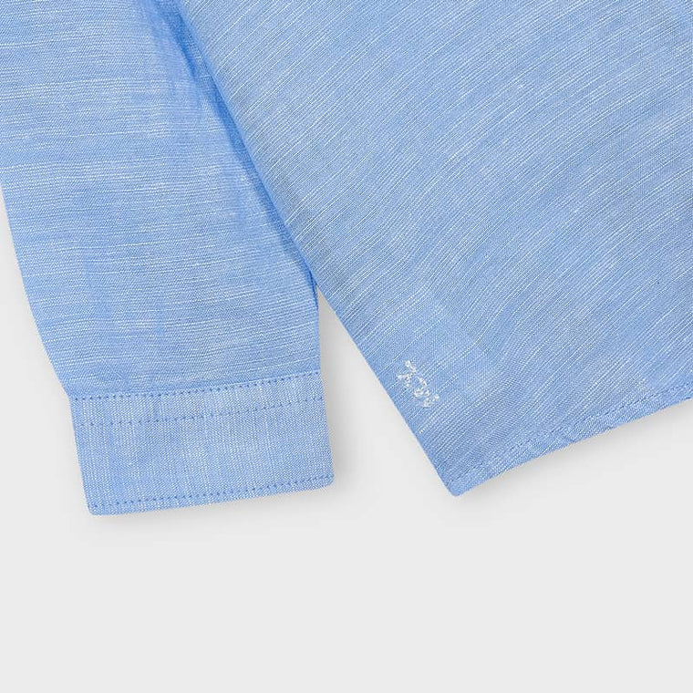Linen Blend Shirt in Light Blue