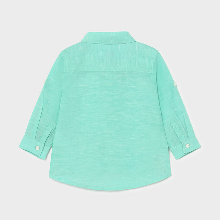 Aqua Longsleeve Cotton Blend Shirt