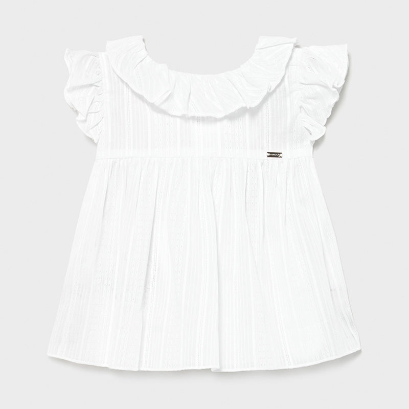White Ruffle Blouse w/ Denim Shorts