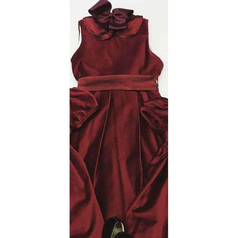 Adrian East online Sleeveless Rich Burgundy Velvet Classic Dress