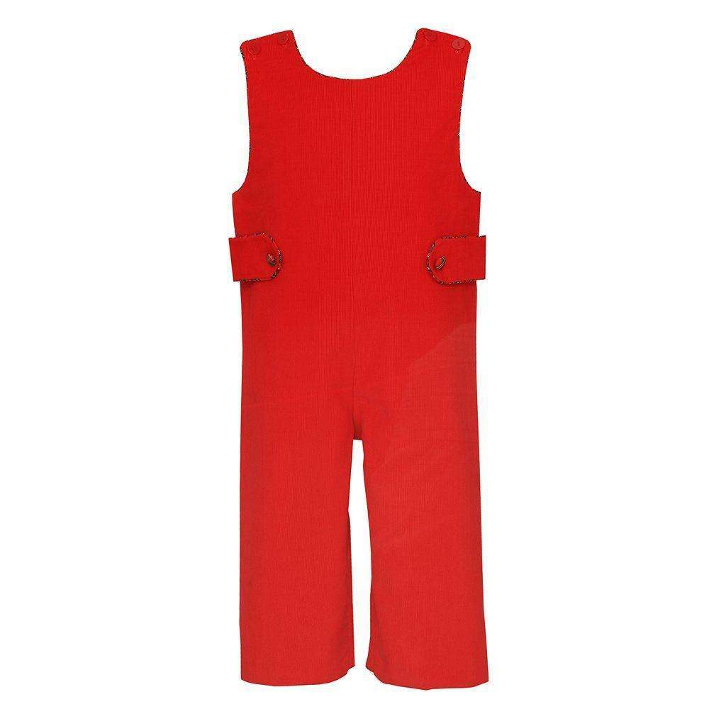 Adrian East online Red Corduroy Overall and Shirt with Plaid Trim