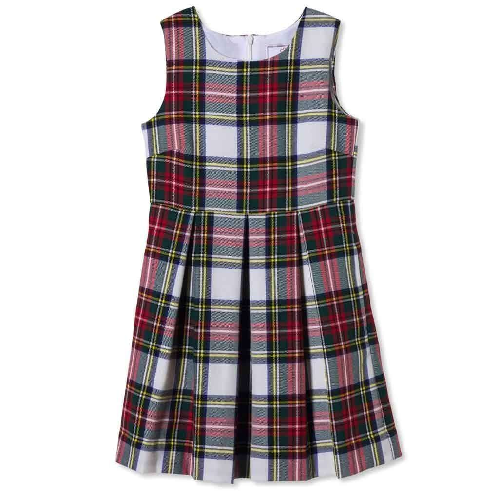 Adrian East online Tartan Flared Dress with Box Pleats