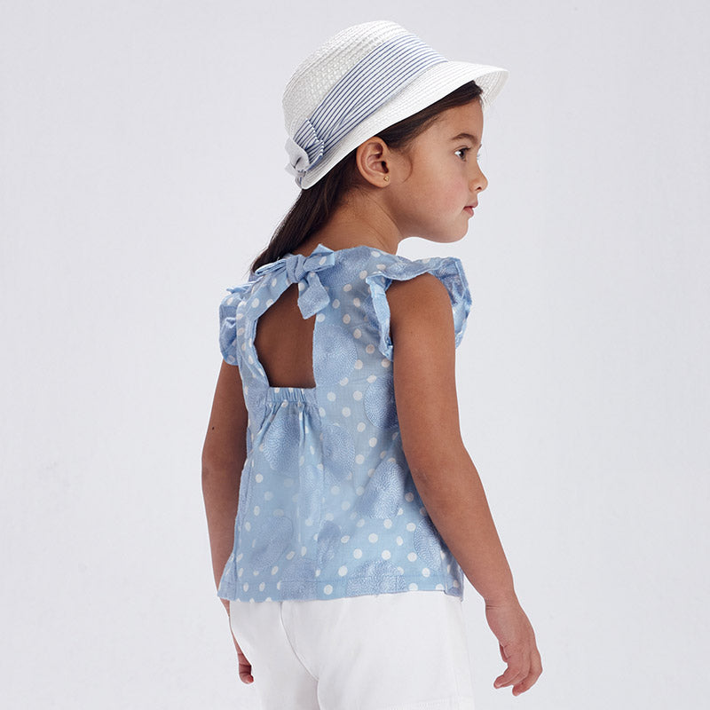 Embroidered Polka Dot Ruffle Top w/ Shorts