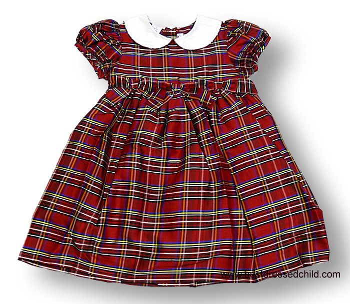 Adrian East online Silk plaid holiday dress with bows