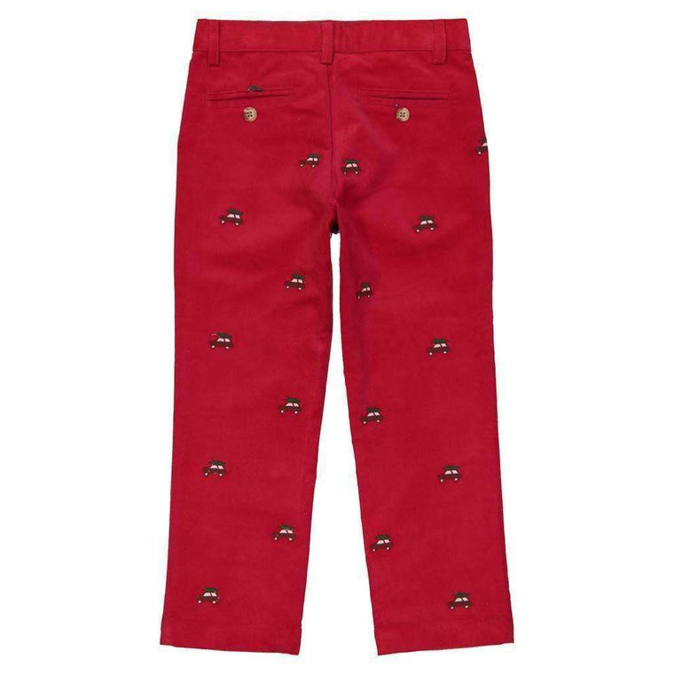 Embroidered Red Corduroy Pants