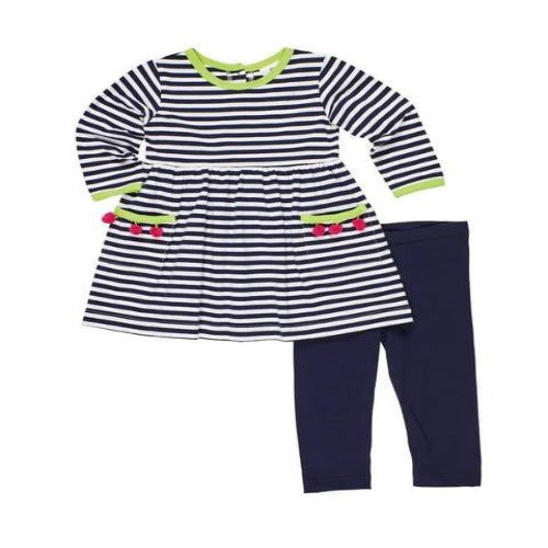 Navy & White Stripe Playset with PomPoms