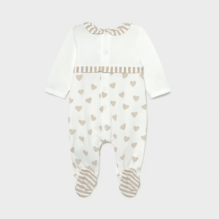 Beige Heart & Stripe Footie