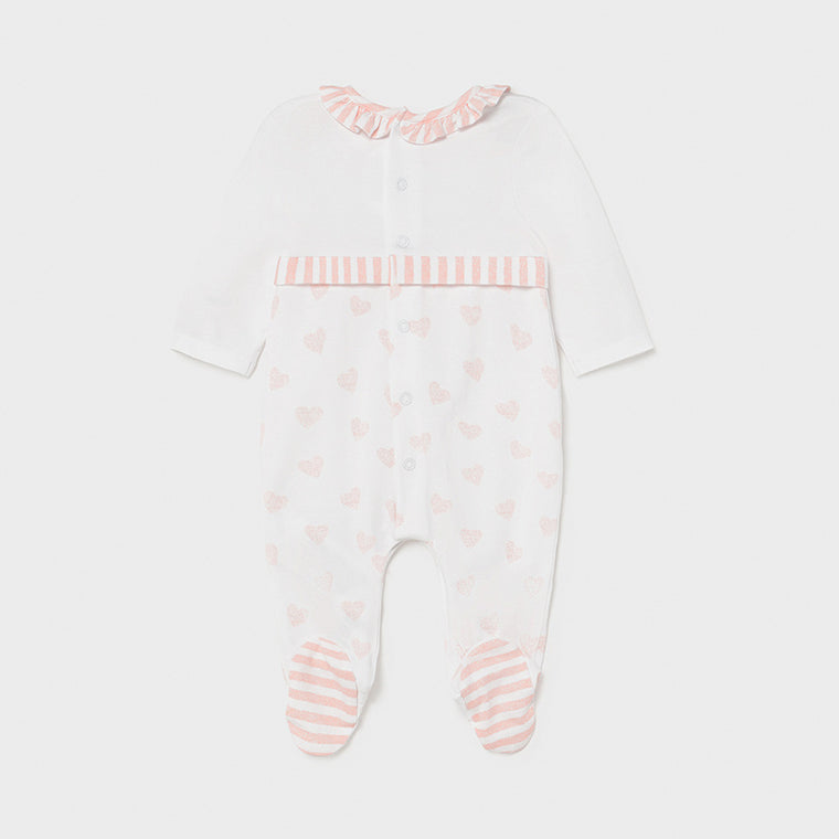 Pink Heart & Stripe Footie