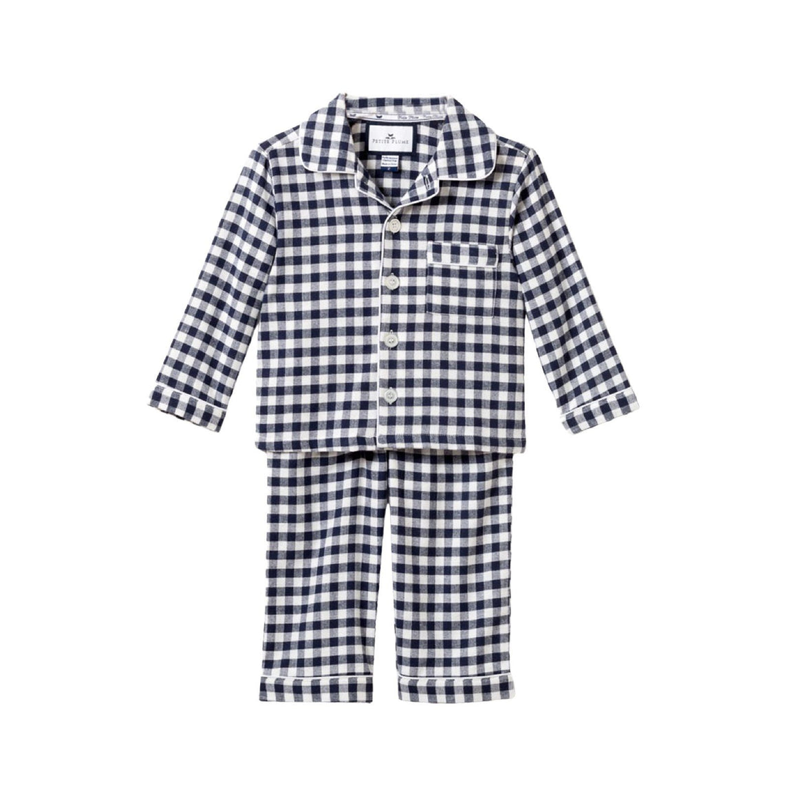 Boys Gingham Pajama Set In Navy/White Check