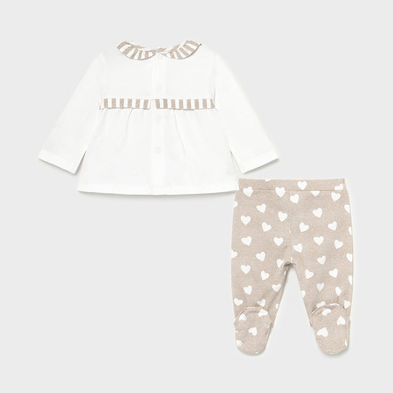 Bge & Wh Hearts Layette Set