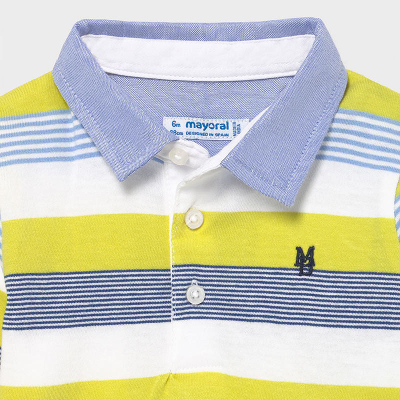 Multicolored Stripe Polo w/ Blue Pants