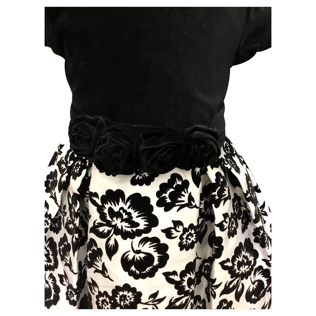 Black & White Flower Brocade Dress